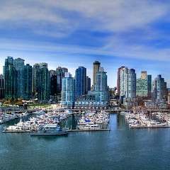 A Sexy City has Cleavage (ecstaticist) Tags: ocean life city blue sky urban cloud west fall water glass vancouver skyscraper marina photoshop plane canon fun for harbor boat dock ship harbour ripple finger yay aerial best have helicopter planning commute when end leader genius coal he float should ever took premier gree hdr condominium unfortunate adjust yaught postprocessing photomatic g10 pseudohdr bingogate sightlines mikeharcourt topax portprocessed othjers