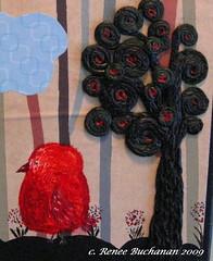 Fat Red Bird Mixed Media Painting/Sculpture (ARTerEgo) Tags: collage folkart mixedmedia whimsicalart selftaughtart apoxiesculpt originalacrylicpainting fatredbird