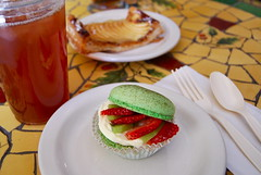 macaron tart (sevenworlds16) Tags: friends french cookie cream sanjose strawberries icedtea macaroon bakery pistachio santanarow 365 kiwi tart catchingup macaron cocola project3661 2009yip 3652009