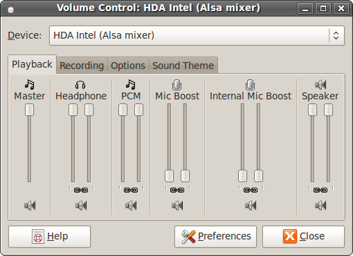 HDA Intel (Alsa mixer) Playback Tab