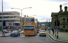 Paisley, circa 1979. (Renown) Tags: buses scotland paisley coaches doubledecker strathclyde daimler fleetline londontransport dms fordfiesta hillmanavenger lte westernsmt grahamsofpaisley independentbuses mlk667l