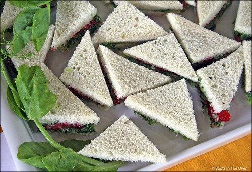 Our contribution: strawberry and pea shoot tea sandwiches