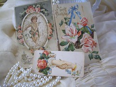victorian cards and pearls (skblanks) Tags: pink blue roses white vintage lace antique cottage victorian silk romantic pearl chic shabby ruching