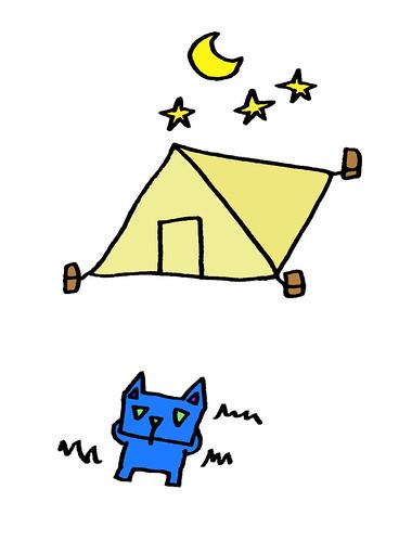 夜空を見上げる三角うさぎ背景無