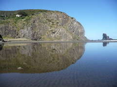 Anawhata reflection (NettyA) Tags: newzealand reflection beach water wow landscape rocks gorgeous great coastal northisland westcoast waitakere anawhata aucklandregion platinumheartaward nz101aucklandswestcoast absolutelystunningscapes worldwidetravelogue anawhatabeach