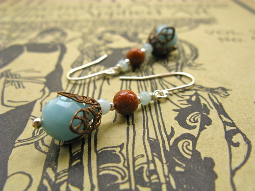 My Lady earrings in aqua/goldstone