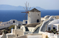 Windmill of Oia (A Sutanto) Tags: blue houses sea white mountain windmill stairs island greek mediterranean steps santorini greece