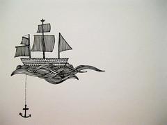 Sail Across the Seas (ivory.to.my.ebony.keys) Tags: illustration boat waves ship anchor sail