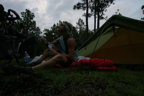 Dinner at my wild camp near Georgetown, South Carolina.