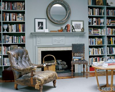 Benjamin Moore 'Winter Solstice': Gray living room + built-in bookshelves,