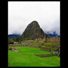 Portrait of Huayna Picchu (Now and Here) Tags: sky mountain green peru grass machu picchu inca stone wall cuzco clouds canon buildings fb terrace stonework cusco peak per powershot inka huts explore summit machupicchu montaa huaynapicchu andenes huayna a85 anden canonpowershota85 explore307 fave10 fave50 fave25 nowandhere davidfarrant