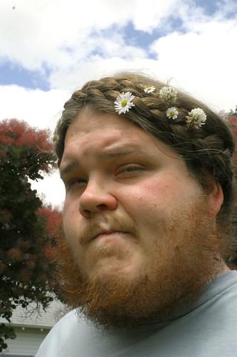 Flowers in his hair