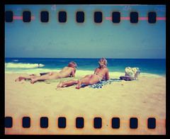Sandy Beach Hawaii Holga 35mm (Justin Ornellas) Tags: ocean justin girls art film beach water beautiful 35mm vintage hawaii holga interestingness interesting lomo lomography waves oahu surfing holes retro bikini flip  hawaiian sandys sandybeach sprocket halona explored  ornellas ornellaswouldgo