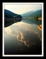 Sunset reflection (CameliaTWU) Tags: mountains reflection clouds river romania carpathians olt calimanesti