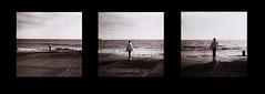 Alone Alone Alone (Jacqueline Galvin) Tags: ocean ireland sea seascape film girl mediumformat seaside holga lomography triptych alone loneliness 120film waterford narrative creeping evoke tramore shotonfilm evocative gettingcloser
