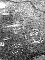 chalk drawings smily faces