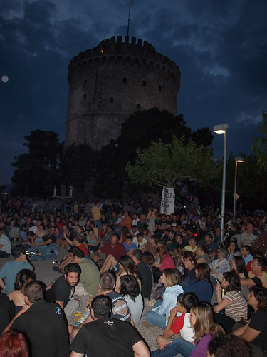 Greek Revolution: Day Seven: Thessaloniki. Popular assembly in shadow of White Tower.