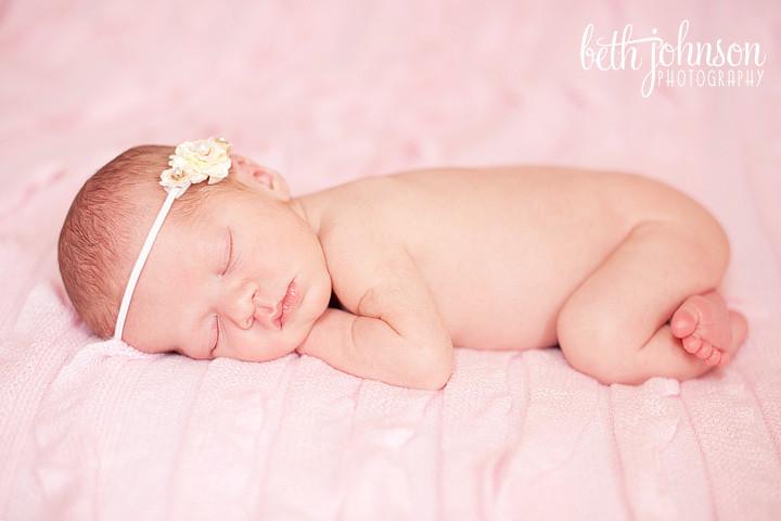 tallahassee newborn photography baby girl headband pink ruffles