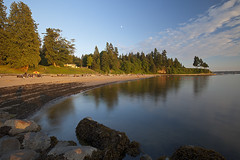 Third Beach before Sundown (Claire Chao) Tags: ocean blue sea cloud canada color colour reflection tree water colors vancouver clouds canon rocks quiet colours bc waterfront dancing britishcolumbia floating calm stanleypark tranquil thirdbeach drifting quietness beforesunset llens beautifulbritishcolumbia cloudreflection canon1635mmf28 floatingcloud canoneos5dmarkii 1635mmllens 5500k10 asshotwb driftingcloud