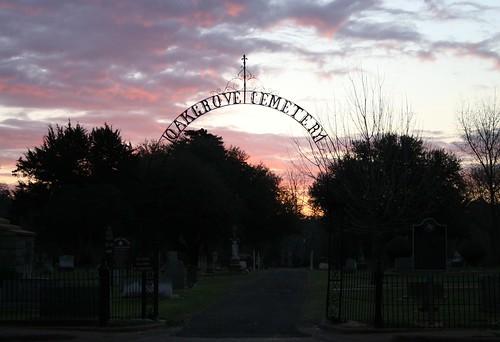 oak grove cemetery gate at sunrise