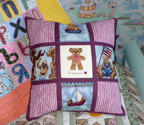 Bear quilted pillow