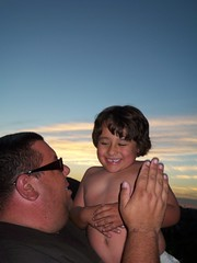 Father & Son Time (Sarah B in SD) Tags: family sunset sky moon jason love clouds evening father sunday son guys lakeside hendrix