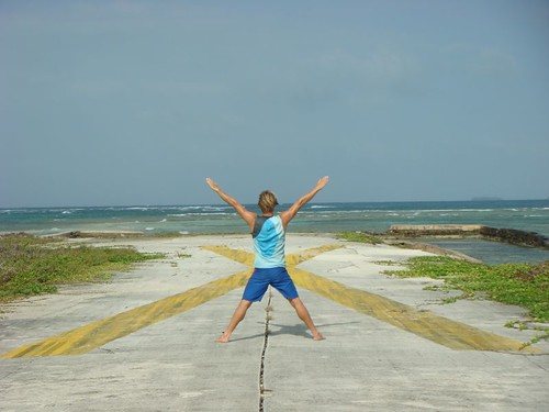 The end of the weird airstrip on Porvenir Island, Panama.