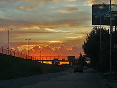Atardecer, Autopista del Oeste, Calle Lateral, Buenos Aires (Ing Camb) Tags: sunset sky orange southamerica argentina clouds atardecer lumix buenosaires highway panasonic cielo autopista nubes ocaso 100club automovil oeste 50club fz8 autopistadeloeste