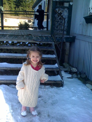 Guenna at our front porch a little unprepared for the weather
