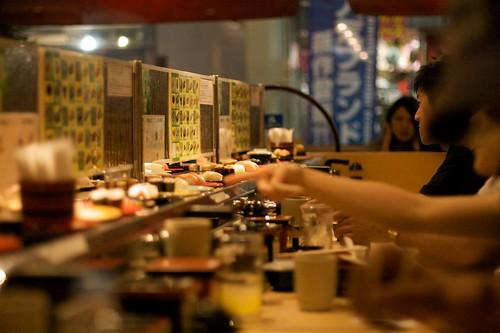 Kaiten sushi in Osaka