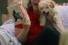 A laugh is a smile that bursts. (The.StoryKeeper) Tags: macro me girl laughing puppy reading kathryn archie moodle outtake 52wks thestorykeeper maryhwaldrip 52wksouttake