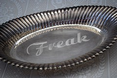 vandalized metal (vandalizedvintage) Tags: etched vintage display text metaltray