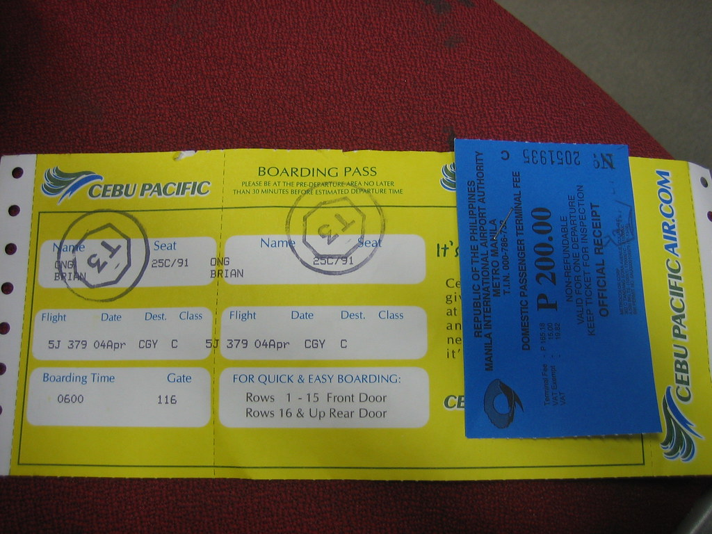 First Airplane Ticket - Cebu Pacific