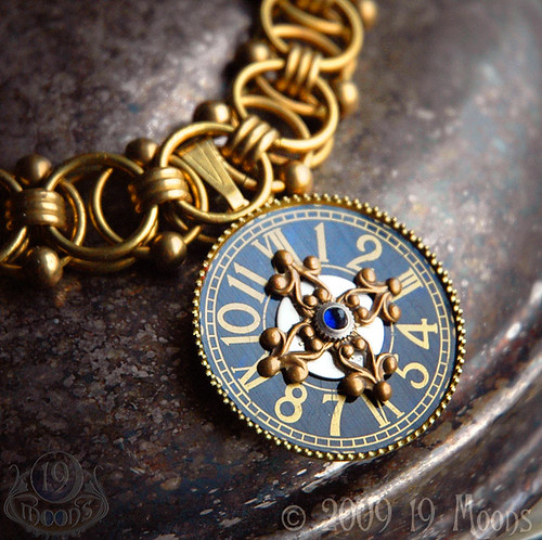 TEMPUS VERNUM Vintage Steampunk Watch Collage Necklace Original by 19 Moons SPRING TIME Luminous Blue SAPPHIRE AND GOLD BRASS BEAD CHOKER