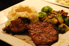 Tonight's Dinner (jillmotts) Tags: dinner mashedpotatoes eats brusselssprouts ribeye ribeyesteak jillmotts