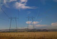 california: last xmas (darwinism) Tags: california blue sky field landscapes driving hills powerline coastrange