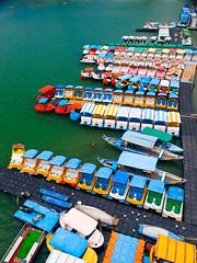 Colorful Pedal Boats  (olvwu | ) Tags: bridge river boat taiwan pedestrian greenlake taipei suspensionbridge pedalboat pedestrianbridge xindian bitan 1260 taipeicounty sindian jungpangwu oliverwu oliverjpwu xindianriver olvwu sindianriver sindiancity jungpang