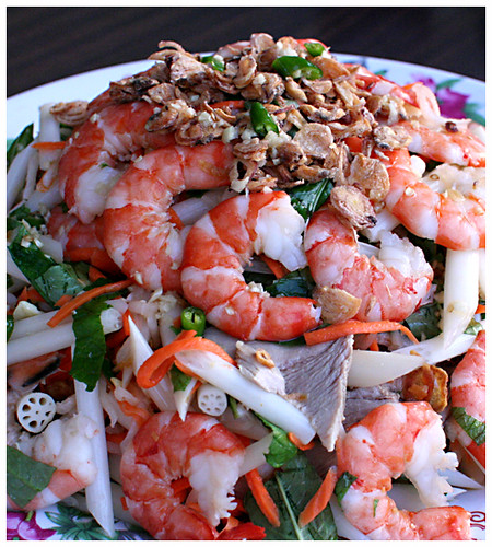 Vietnamese lotus root salad