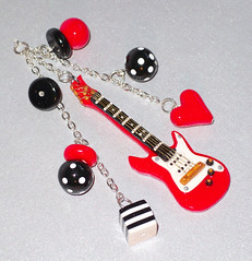 Rearview Mirror Guitar Charm - For Daya's Birthday (yifatiii) Tags: birthday music car cord mirror blackwhite guitar rearviewmirror charm polymerclay fimo gift rockmusic string sculpey tls kato electricguitar liquidpolymerclay metalfindings guitarcharm