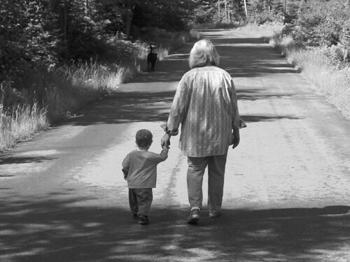 logan walks with grandma karen