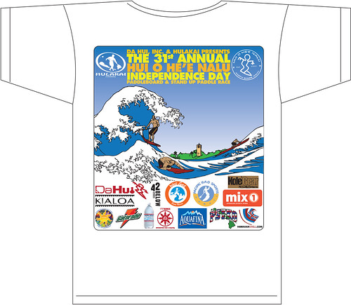 My illustration on the back of Da Hui's 31st Annual paddleboard race