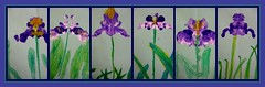 kindergarten irises (artsy_T) Tags: iris green nature yellow natural symmetry fold kindergarten smear crayon picnik folding tempera blending blots overlapping