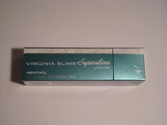 Unwrapped pack front (Capri Superslims) Tags: lights virginia pack cigarettes slims menthol virginiaslims superslims pursepack