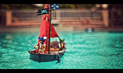 Land Ahoy! (isayx3) Tags: storm water pool rain 35mm vintage toy boat nikon ship bokeh parrot retro pirate sword sail f2 nikkor figures d3 ahoy playmobile arrgg