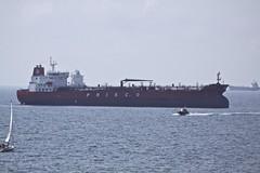 The Prisco Elizaveta anchored off Falmouth. (john durrant) Tags: uk bay cornwall ship cyprus bow oil bulbous falmouth merchant tanker fal anchored moored tankship priscoelizaveta