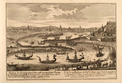 017- Vista de la residencia del rey de Siam-Entwurf einer historischen Architektur 1721- © Universitätsbibliothek Heidelberg