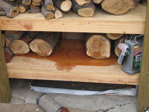 log of European olive missing from racks