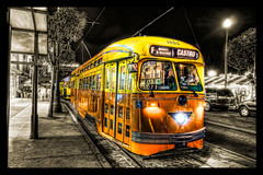 Streetcar 1052 [Explored] (big_pixel_pusher) Tags: sanfrancisco road street light orange glass yellow night vintage lights doors bell market rail muni castro f duotone headlight marketstreet streetcar hdr sfmuni marketstreetrailway fline 1052 bppfoto marketstreetrailroad bigpixelpusher ~~api~~ classicfishermanswharf wwwbigpixelpushingcom msrcalendarsubmission