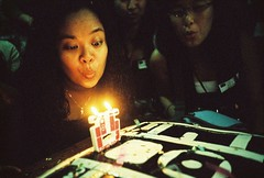 blowing 25 (golfpunkgirl) Tags: birthday party cake lomo lca xpro lomography crossprocessed candles blow 25 baguio kitkat fujisensia200 lomomanila pnkytravelcafe lca25thanniversary