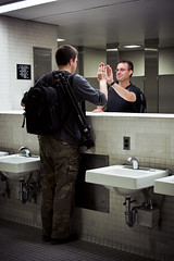 Man in the Mirror (no3rdw) Tags: plaza reflection bathroom mirror sink image egg albany noreflection nomirror